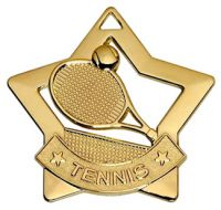 Mini Star Tennis Medal Gold 60mm