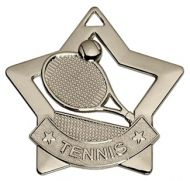 Mini Star Tennis Medal Silver 60mm