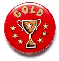 Gold Cup Trophy Award Button Badge