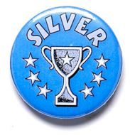 Silver Cup Trophy Award Button Badge