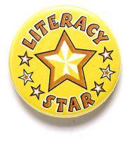 Literacy Star Button Badge