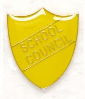 Shield Trophy Award Badge School Council Yellow