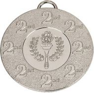 Target50 2nd Medal with FREE Red White and Blue Ribbon 22mm Silver 50mm
