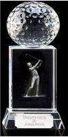 Mercury Golfer Optical Crystal - 6 Inch - New 2015