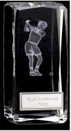 Clarity Female Golfer Crystal Block : 4 1/2 Inch : New 2015