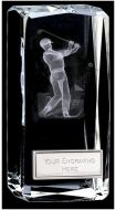 Clarity Male Golfer Crystal Block : 4 1/2 Inch : New 2015