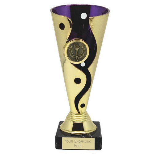 Carnival Cup Trophy Award Purple Gold 6.75 Inch