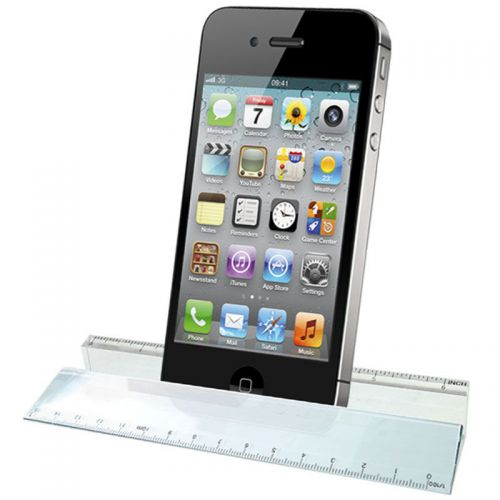 Glass Ruler Paperweight and Phone Hol Clear 6.25 Inch