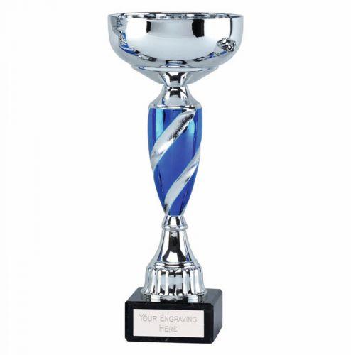 Saturn9 Presentation Cup Trophy Award Silver Blue 9.75 Inch