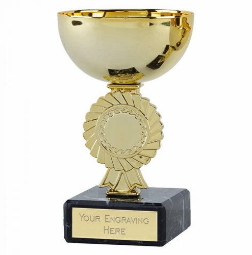 Rosette Gold Cup Trophy Award 4.5 Inch (11.5cm) - New 2019