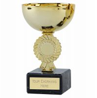 Rosette Gold Cup Trophy Award 5.25 Inch (13.5cm) - New 2019