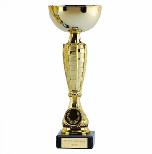 Chequer Gold Cup Trophy Award 9.25 Inch (23.5cm) - New 2019