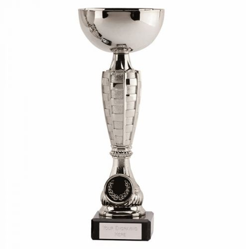 Chequer Silver Cup Trophy Award 8.5 Inch (21.5cm) - New 2019