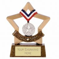 Mini Star Medal Silver Aggt 3.25 Inch