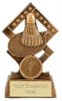 Cube Badminton Trophy Award 4.5 Inch (11.5cm) : New 2020