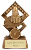 Cube Badminton Trophy Award 5.25 Inch (13.5cm) : New 2020