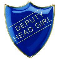 School Shield Trophy Award Badge (Deputy Head Girl) Green 1.25in