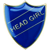 School Shield Trophy Award Badge (Head Girl) Blue 1.25in