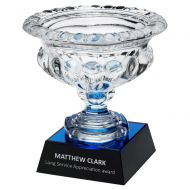 Clear Glass Bowl On Blue Black Base (Approx 7 inch Dia) 8.25in : New 2020