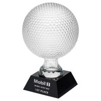 Clear Glass Golf Ball On Black Base (5.5 inch Dia) 9.25in : New 2020
