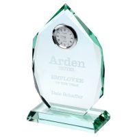Jade Glass Diamond Plaque With Clock 6.5in - New 2019