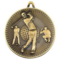 Golf Deluxe Medal Antique Gold 2.35in - New 2019