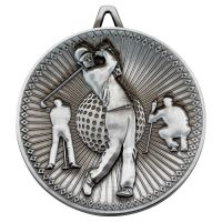 Golf Deluxe Medal Antique Silver 2.35in - New 2019