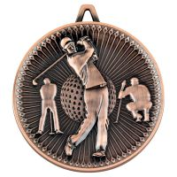 Golf Deluxe Medal Bronze 2.35in - New 2019