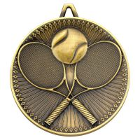 Tennis Deluxe Medal Antique Gold 2.35in - New 2019