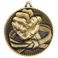 Martial Arts Deluxe Medal Antique Gold 2.35in - New 2019