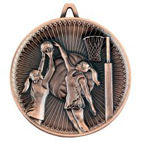 Netball Deluxe Medal Bronze 2.35in - New 2019