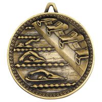 Swimming Deluxe Medal Antique Gold 2.35in - New 2019