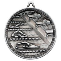Swimming Deluxe Medal Antique Silver 2.35in - New 2019