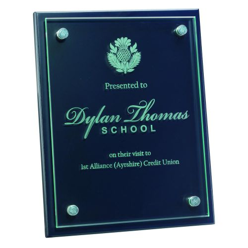 Blue Plaque 6mm Glass Plaque Attached To Front 8 X 10in