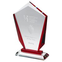 Clear Glass Pointed Plaque with Red Sides and Step (15mm Thick) 8.75in : New 2020
