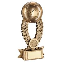 Bronze Gold Football On Wreath Riser with Ribbon Base Trophy Award 10in : New 2020