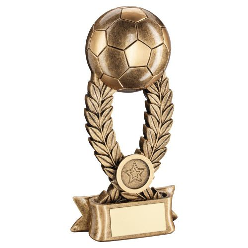 Bronze Gold Football On Wreath Riser with Ribbon Base Trophy Award 8in : New 2020