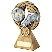 Bronze Pewter Gold Football And Boot On Star Holed Spiral Trophy 7.25in - New 2019