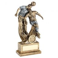 Football Trophy Award Bronze Pewter Male Double Heading Figures 10.25in : New 2020