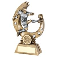 Bronze Pewter Male Flying Volley Figure with Silver Stars Trophy Award 6in : New 2020
