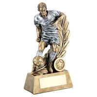 Bronze Pewter Male Football Figure On Leaf Backdrop Trophy 7.25in - New 2019