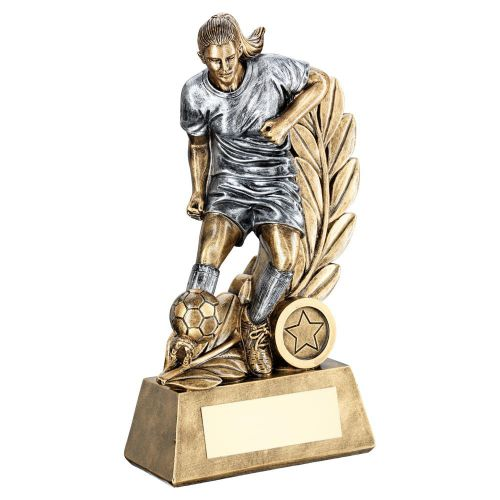 Bronze Pewter Female Football Figure On Leaf Backdrop Trophy 7.25in - New 2019