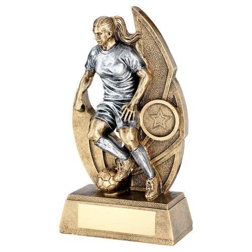 Bronze Pewter Female Womens Football Figure On Backdrop Trophy Award 8.5in : New 2020