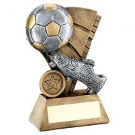 Bronze Pewter Gold Football And Boot On Sail Backdrop Trophy 5.75in - New 2019