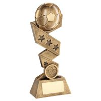 Bronze Gold Football On Zig Zag Star Ribbon Trophy Award 6in : New 2020
