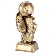Bronze Gold Football and Boots On Column Riser Trophy Award 8.75in : New 2020