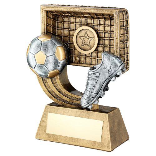 Bronze Gold Pewter Football On Swoosh With Boot Net Trophy 4.25in - New 2019