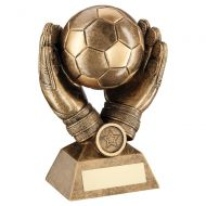 Bronze Gold Football In Goalkeeper Gloves Trophy Award 7.25in : New 2020