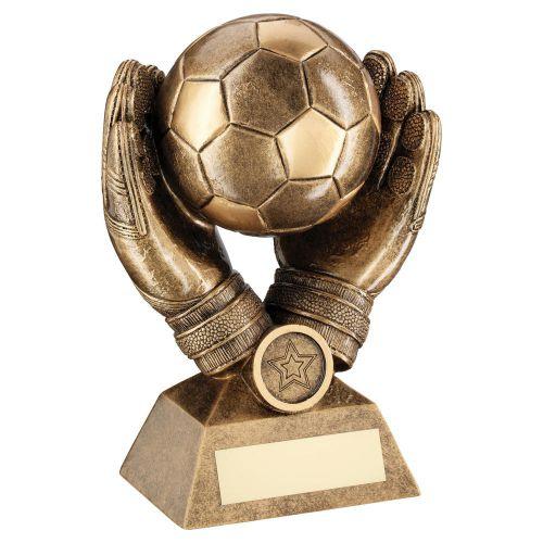 Bronze Gold Football In Goalkeeper Gloves Trophy Award 7.25in : New 2020