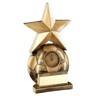 Bronze Gold Football With Gold Star Trophy 4.75in - New 2019